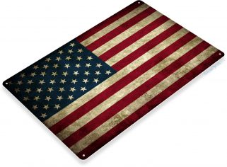 American Flag Sign Rustic Patriotic Art, Stars And Stripes, Old Glory, US Flag Metal Sign A212