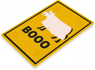 BOO Cow Halloween Sign Cow Costume Holiday Scary Ghost Farm Metal Sign B339