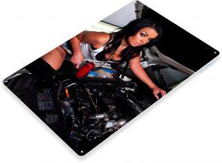 TIN SIGN B523 Right Size Pin-up Girl Garage Auto Shop Hot Rod Sign Decor