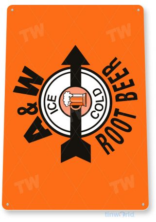 tin sign a002 a&w retro root beer sign ice cold retro cola sign kitchen shop store tinworld tinsign_com