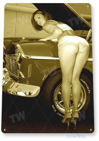 tin sign a010 work heels pin-up hot rod girl auto shop garage cave tinworld tinsign_com