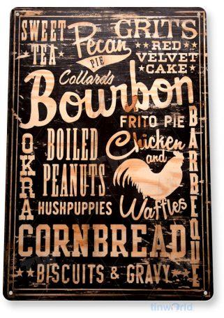 tin sign a024 bourbon cornbread rustic sign kitchen cottage farm store tinworld tinsign_com