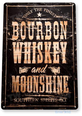 tin sign a025 bourbon whiskey black rustic moonshine sign bar pub store cave tinworld tinsign_com