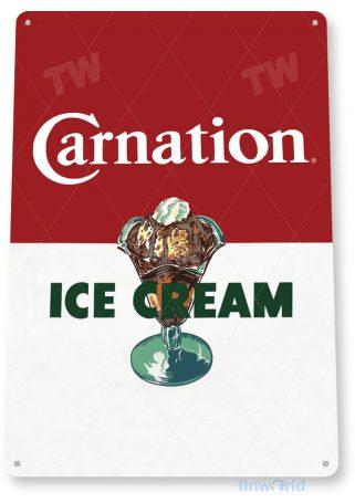 tin sign a035 carnation retro ice cream sign parlor kitchen farm cottage shop tinworld tinsign_com