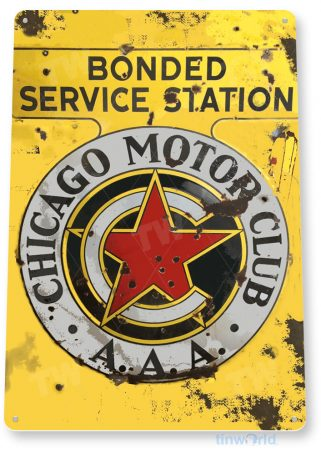 tin sign a039 chicago motor club rustic rust sign station gas oil garage shop store cave tinworld tinsign_com
