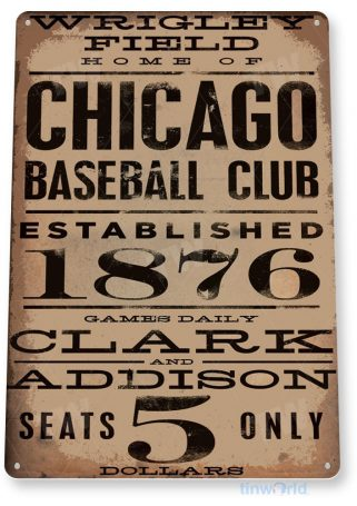 tin sign a040 chicago wrigley field rustic sign card baseball shop store tinworld tinsign_com