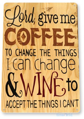 tin sign a041 coffee & wine rustic sign store cottage farm shop kitchen bar tinworld tinsign_com