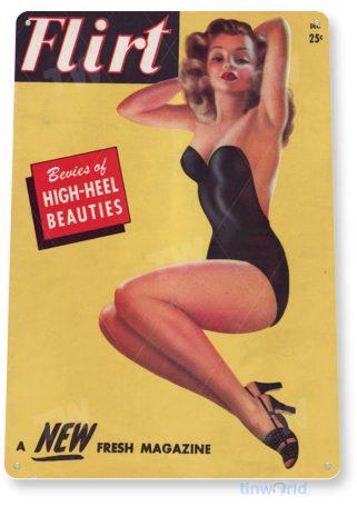 tin sign a065 flirt h-heel garage shop bar cave retro magazine pin-up girl tinworld tinsign_com