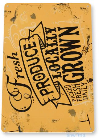 tin sign a069 fresh local produce rustic sign beach house cottage farm kitchen cafe tinworld tinsign_com
