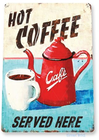 tin sign a090 hot coffee rustic sign store shop kitchen cottage farm cafe tinworld tinsign_com