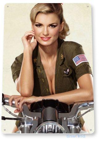 tin sign a093 hot rider army motorcycle garage shop cave pin-up girl tinworld tinsign_com