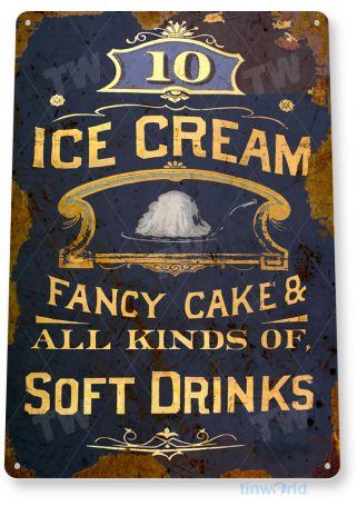 tin sign a094 ice cream & soft drinks soda sign rust shop store kitchen parlor tinworld tinsign_com