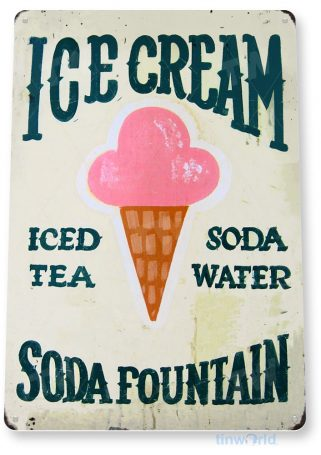 tin sign a095 ice cream soda sign kitchen cottage parlor candy store tinworld tinsign_com