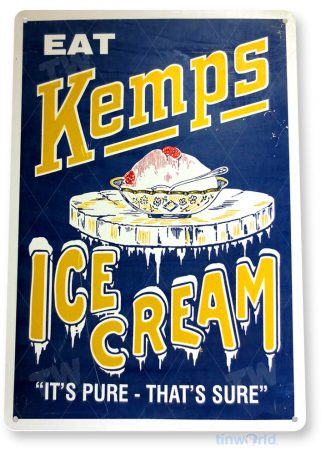 tin sign a101 kemps ice cream sign kitchen cottage farm candy store tinworld tinsign_com