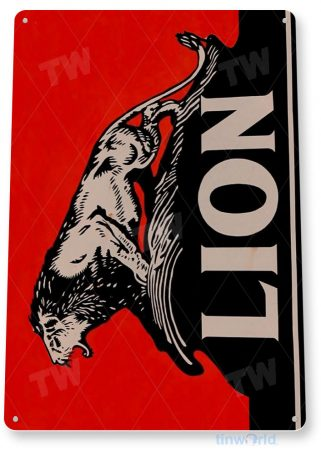 tin sign a105 lion oil gas sign auto shop garage store cave tinworld tinsign_com