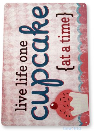 tin sign a106 live life cupcakes rustic beach house kitchen cottage farm tinworld tinsign_com