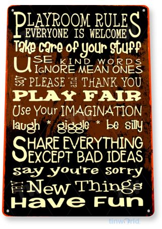 tin sign a146 playroom rules sign play toy box room cottage cave tinworld tinsign_com