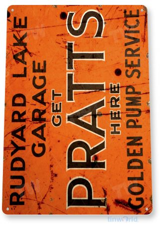 tin sign a151 pratts pump service rusty rustic oil gas sign auto shop garage tinworld tinsign_com
