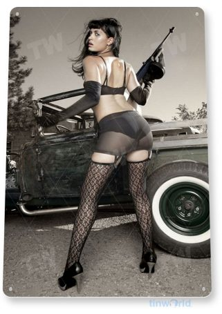tin sign a165 sharp shooter military pin-up army gun girl hot rod garage cave tinworld tinsign_com