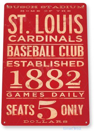 tin sign a169 st. louis cardinals rustic baseball game room sign tinworld tinsign_com
