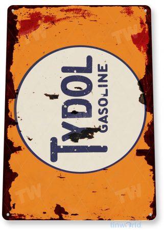 tin sign a182 tydol gas oil rustic gasoline pump sign auto shop garage cave tinworld tinsign_com