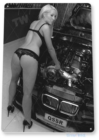 tin sign a188 tighten it up pin-up hot rod garage auto shop cave tinworld tinsign_com