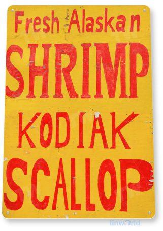 tin sign a205 alaskan shrimp scallop rustic restaurant sign kitchen marina store farm tinworld tinsign_com