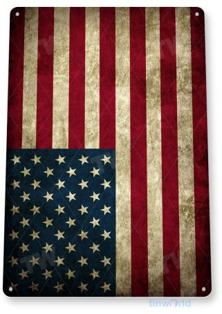 tin sign a212 american flag rustic patriotic stars and stripes cottage sign tinworld tinsign_com