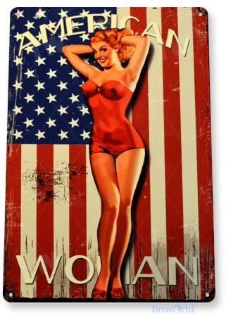 tin sign a214 american flag retro pin-up girl cottage garage cave tinworld tinsign_com