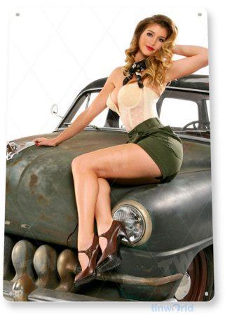 tin sign a222 army retro pin-up girl garage auto shop bar cave tinworld tinsign_com