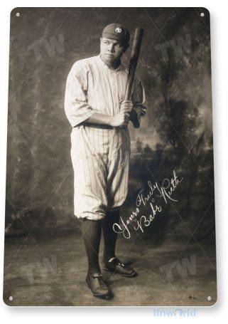 tin sign a227 babe ruth yankees historic baseball photo tinworld tinsign_com