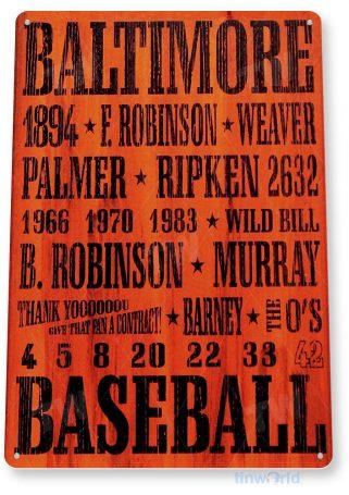 tin sign a232 baltimore orioles rustic retro baseball sign tinworld tinsign_com