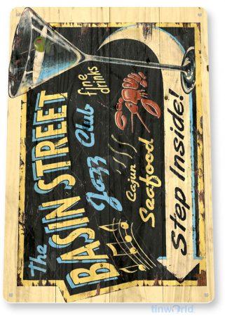 tin sign a234 a234 basin street jazz club rustic bar pub sign tinworld tinsign_com