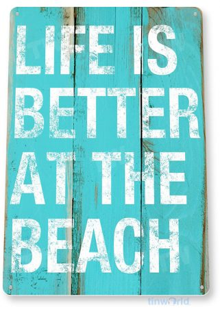 tin sign a236 beach life rustic beach house cottage sign tinworld tinsign_com