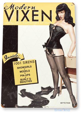tin sign a246 betty page vixen retro magazine pin-up girl shop cave tinworld tinsign_com