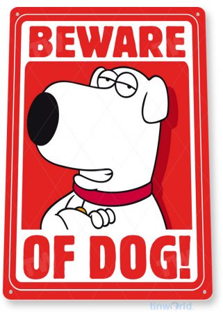tin sign a249 beware family dog cartoon sign tinworld tinsign_com