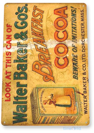 tin sign a261 breakfast cocoa rustic retro kitchen cottage sign tinworld tinsign_com