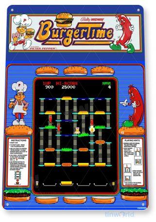 tin sign a265 burger time arcade shop game room sign marquee retro console tinworld tinsign_com
