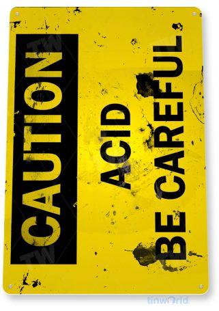 tin sign a277 caution acid rusty warning sign garage shop cave tinworld tinsign_com