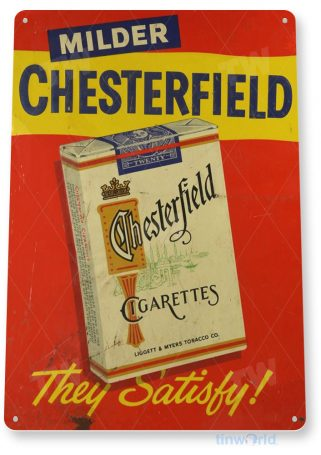 tin sign a285 chesterfield cigarettes retro tobacco sign smoke shop cave tinworld tinsign_com