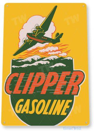 tin sign a294 clipper aviation retro gas oil sign auto shop hangar cave garage tinworld tinsign_com