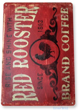 tin sign a296 coffee red rooster rustic coffee sign kitchen cottage farm tinworld tinsign_com