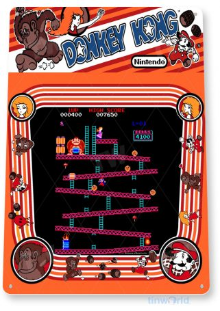 tin sign a329 donkey kong arcade shop game sign room marquee retro console tinworld tinsign_com