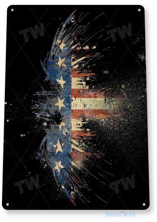tin sign a347 eagle dust american flag patriotic garage cave tinworld tinsign_com