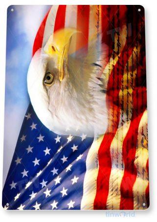 tin sign a348 eagle flag bald patriotic american flag stars stripes tinworld tinsign_com