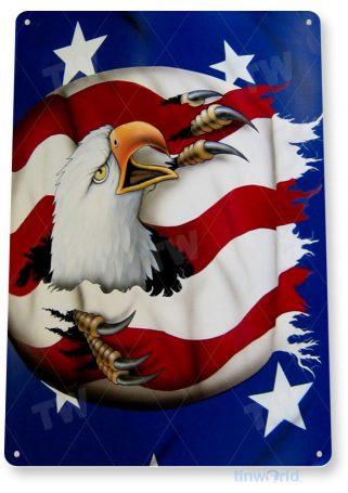 tin sign a349 eagle rip bald american flag stars stripes patriotic tinworld tinsign_com