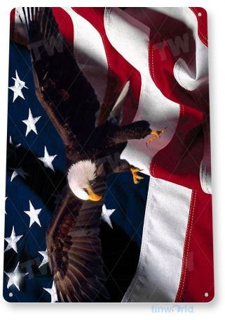 tin sign a351 eagle wings american flag patriotic stars stripes tinworld tinsign_com