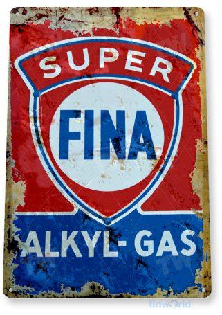 tin sign a366 fina alkyl gas oil rustic retro gas station sign auto shop cave garage tinworld tinsign_com