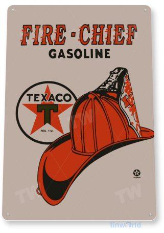 tin sign a367 fire chief retro texaco gas oil sign garage cave tinworld tinsign_com