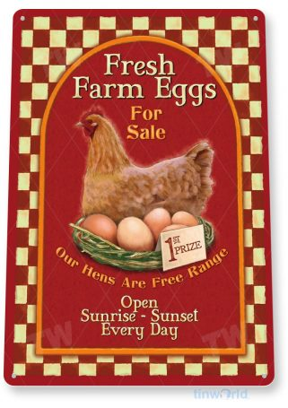 tin sign a389 fresh eggs country sign farm kitchen cottage farm tinworld tinsign_com